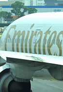 Emirates Boing 777 am Flughafen Singapore Changi